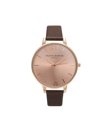 OLIVIA BURTON LONDON  Big Dial Chocolate & Rose Gold Watch OB16BD105 – Big Dial in Rose Gold and Chocolate - Front view