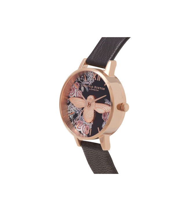 OLIVIA BURTON LONDON Botanical 3D Bee Black & Rose Gold WatchOB16AM100 – Midi Dial Round in Floral and Black - Side view