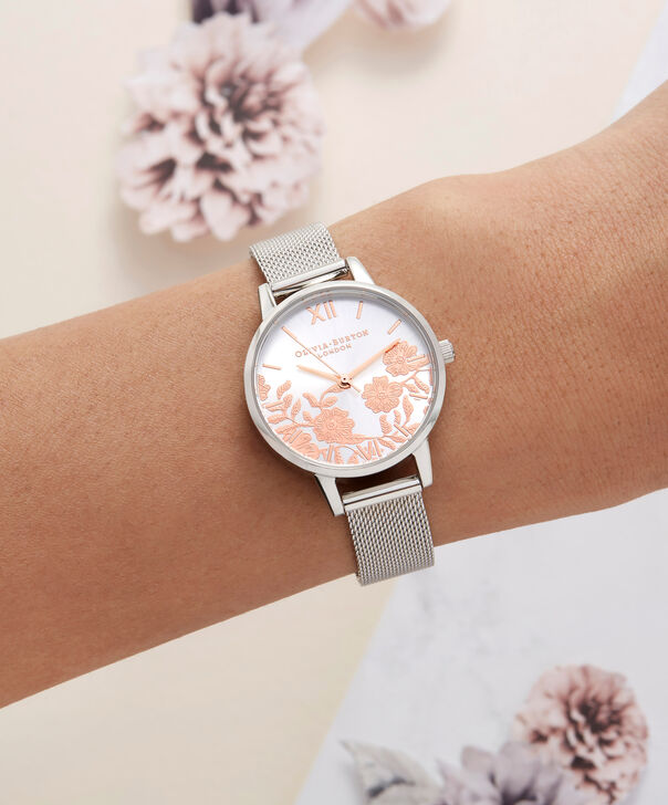 OLIVIA BURTON LONDON  Lace Detail Rose Gold & Silver Mesh OB16MV90 – Midi Dial Round in Silver - Other view