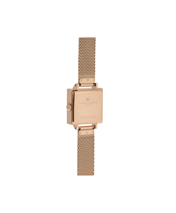 OLIVIA BURTON LONDON  Square Dial 3D Bee Midnight & Rose Gold Mesh Watch OB16AM96 – Midi Square Navy and Rose Gold - Back view