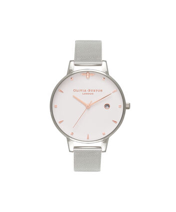 OLIVIA BURTON LONDON Rose Gold & Silver Mesh WatchOB16AM115 – Big Dial Round in White and Silver - Front view