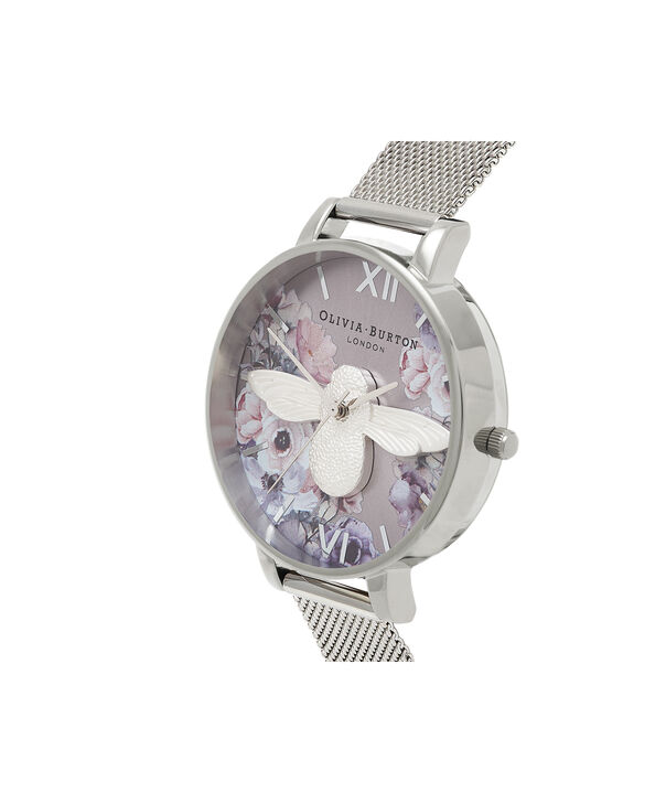 OLIVIA BURTON LONDON  Watercolour Florals Silver Mesh OB16PP42 – Big Dial Round in Silver - Side view