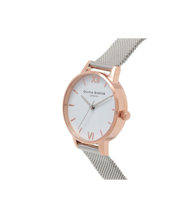 OLIVIA BURTON LONDON White Dial Rose Gold & Silver Mesh WatchOB16MDW02 – Midi Dial Round in White and Silver - Side view