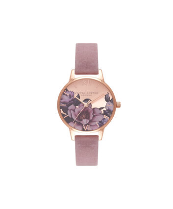 OLIVIA BURTON LONDON Peony Parlour Sunray Midi Dial Watch with Rose SuedeOB16PL42 – Midi Dial in pink and Rose Gold - Front view