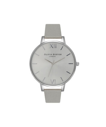 OLIVIA BURTON LONDON  Big Dial Grey And Silver Watch OB15BD57 – Big Dial Round in Silver and Grey - Front view