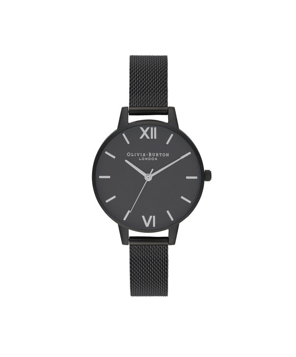 OLIVIA BURTON LONDON After Dark Silver & Matte Black MeshOB16AD51 – Demi Dial In Black And Ip Black - Front view