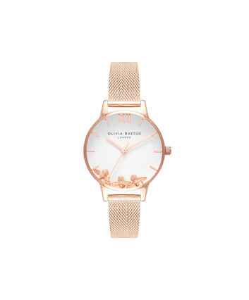 OLIVIA BURTON LONDON Busy BeesOB16CH01 – Midi Dial Round in White and Rose Gold - Front view