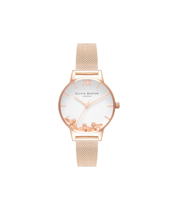 OLIVIA BURTON LONDON  Busy Bees Rose Gold Mesh Watch OB16CH01 – Midi Dial Round in White and Rose Gold - Front view