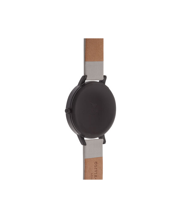 OLIVIA BURTON LONDON  After Dark Matte Black & Light Grey Watch OB16AD04 – Big Dial Round in Black and Grey - Back view
