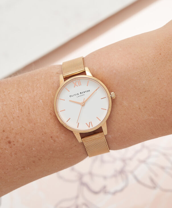 OLIVIA BURTON LONDON  White Dial Rose Gold Mesh Watch OB16MDW01 – Midi Dial in White and Rose Gold - Other view