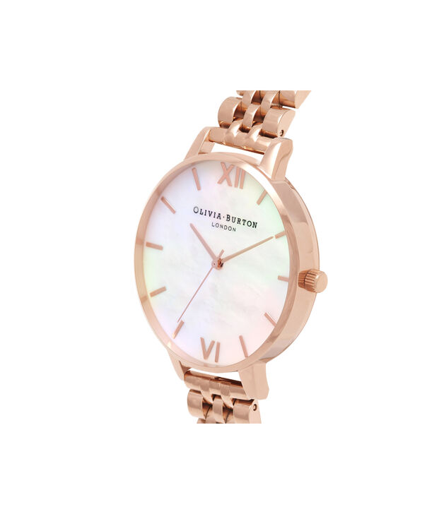 OLIVIA BURTON LONDON  Mother of Pearl White Bracelet, Rose Gold OB16MOP03 – Big Dial Round in Rose Gold and Rose Gold - Side view