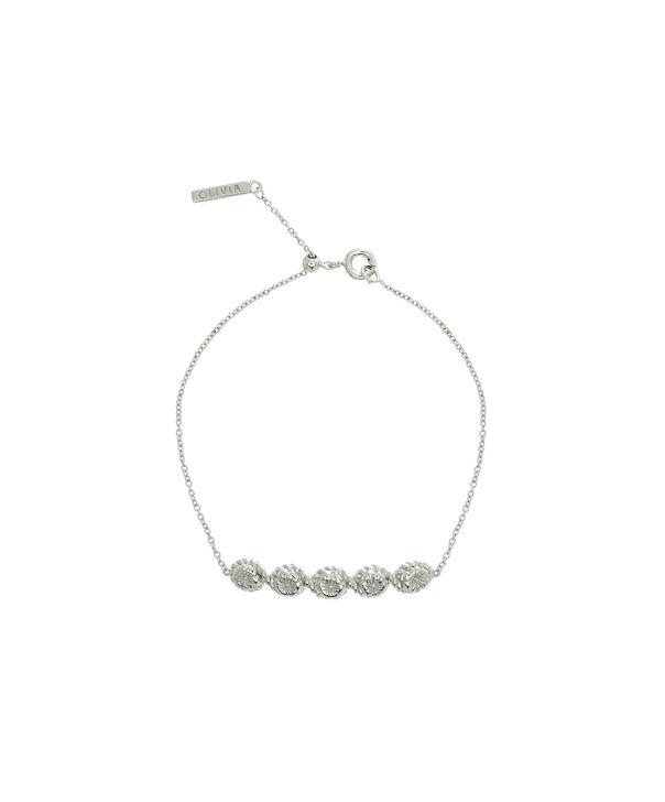 OLIVIA BURTON LONDON Flower Show Rope Chain Bracelet Silver OBJ16FSB12 – Floral Charm Chain Bracelet - Front view