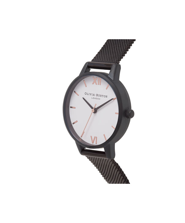 OLIVIA BURTON LONDON  White Dial IP Black Mesh Watch OB16MDW08 – Midi Dial Round in Black IP and white - Side view