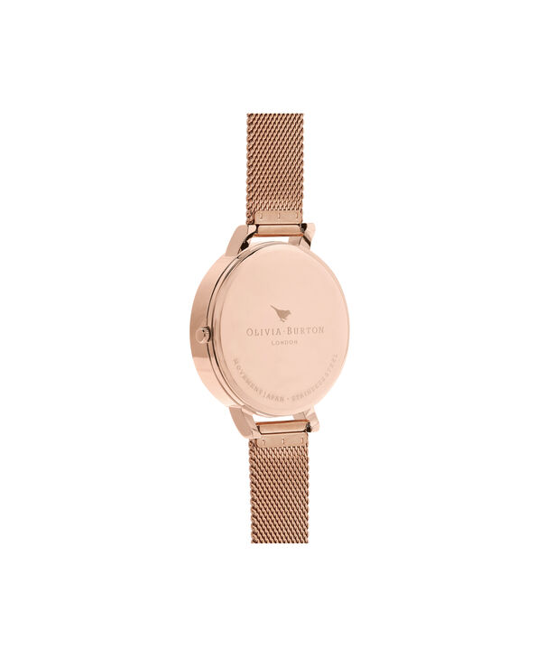 OLIVIA BURTON LONDON  Abstract Florals Rose Gold Mesh OB16VM26 – Big Dial Round in Rose Gold - Back view