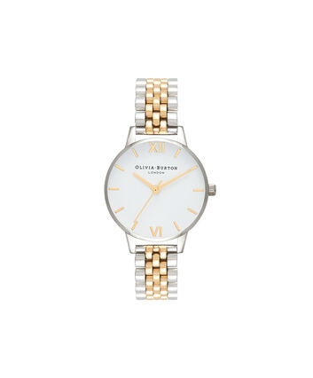 OLIVIA BURTON LONDON  Midi Dial White Dial Gold & Silver Bracelet Watch OB16MDW34 – Midi Dial in White and Silver and Gold - Front view