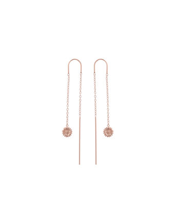OLIVIA BURTON LONDON  Daisy Chain Drop Earrings Rose Gold OBJ16DAE17 – 3D Daisy Drop Chain Earrings - Front view