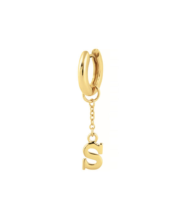 OLIVIA BURTON LONDON  S Alphabet Huggie Charm Gold OBJ16HCGS – Charms - Side view