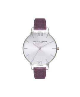 Exclusive Big Dial Grey Lilac Velvet & Silver Sunray
