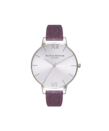 OLIVIA BURTON LONDON Sunray DialOB16BD109 – Big Dial Round in Silver and Grey Lilac - Front view
