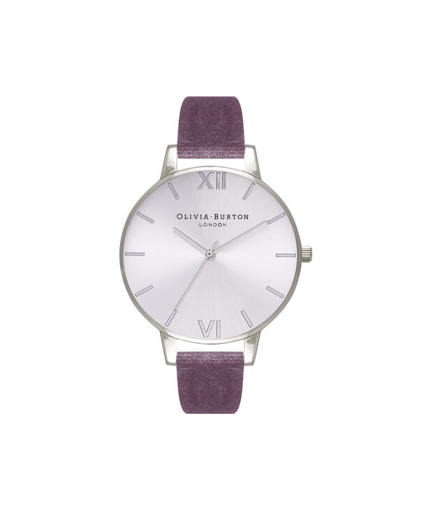 OLIVIA BURTON LONDON Exclusive Big Dial Grey Lilac Velvet & Silver Sunray OB16BD109 – Big Dial Round in Silver and Grey Lilac - Front view