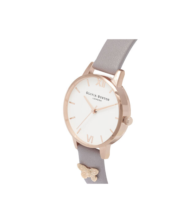 OLIVIA BURTON LONDON  Embellished Strap Butterfly, Grey Lilac & Rose Gold OB16MDW39 – Midi Dial Round in Rose Gold and Grey - Back view