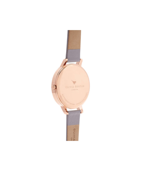 OLIVIA BURTON LONDON  Winter Garden Grey Lilac & Rose Gold Watch OB16WG34 – Big Dial in White and Grey Lilac - Back view