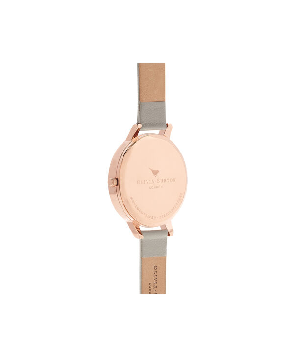 OLIVIA BURTON LONDON Queen Bee Grey Dial & Rose Gold WatchOB16AM87 – Big Dial Round in Grey - Back view
