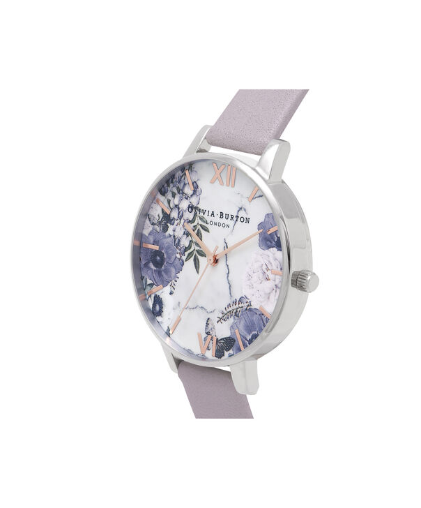 OLIVIA BURTON LONDON  Marble Floral Grey Lilac, Rose Gold & Silver Watch OB16MF05 – Big Dial in Rose Gold and Grey Lilac - Side view