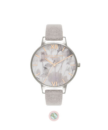 OLIVIA BURTON LONDON  Eco Friendly Grey Lilac, Rose Gold & Silver OB16VE13 – Big Dial Round in Silver , Rose Gold and Grey - Front view