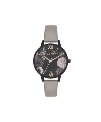 OLIVIA BURTON LONDON After DarkOB16AD24 – Midi Round in Dark Floral and Grey - Front view