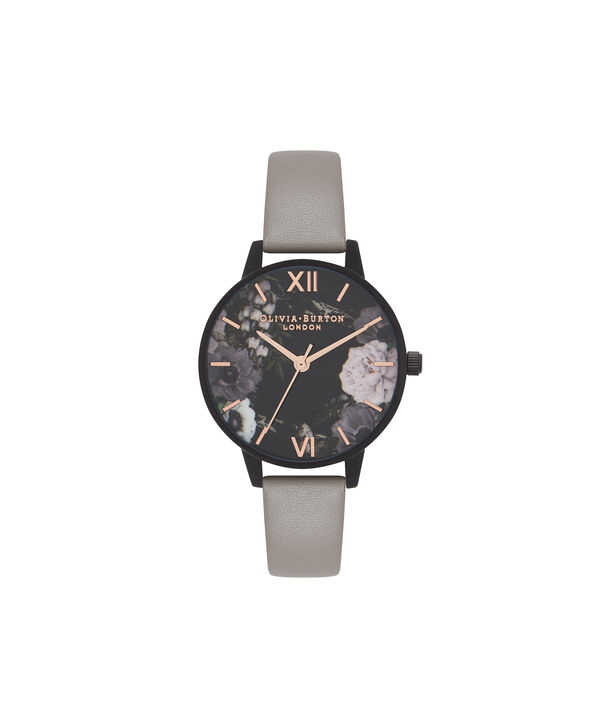 OLIVIA BURTON LONDON  After Dark Marble Floral Grey, IP Black & Rose Gold Watch OB16AD24 – Midi Round in Dark Floral and Grey - Front view