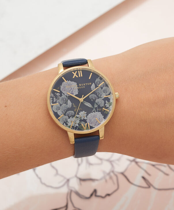 OLIVIA BURTON LONDON  Enchanted Garden Bee Blooms Midnight Dial & Gold Watch OB16EG55 – Big Dial Round in Floral and Navy - Other view
