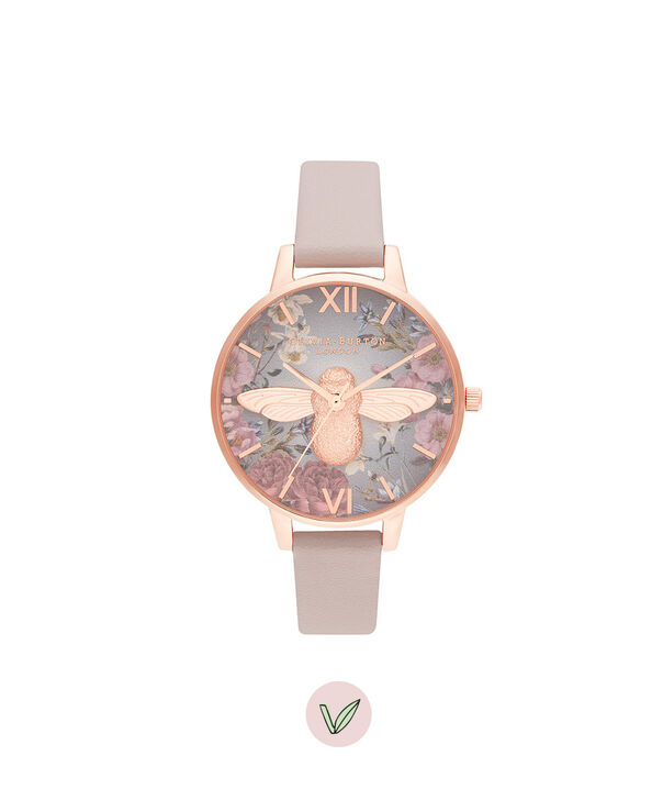 OLIVIA BURTON LONDON British Blooms 3D Bee, Vegan Rose & Rose GoldOB16EG134 – British Blooms 3D Bee, Vegan Rose & Rose Gold - Front view