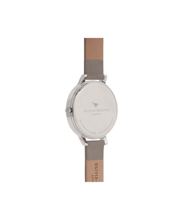 OLIVIA BURTON LONDON  Big Dial Grey And Rose Gold Watch OB16BD90 – Big Dial Round in Grey - Back view