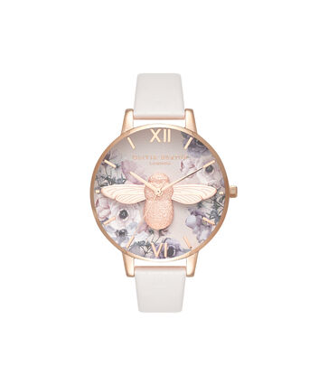 OLIVIA BURTON LONDON Watercolour FloralsOB16PP41 – Midi Dial Round in Rose Gold - Front view