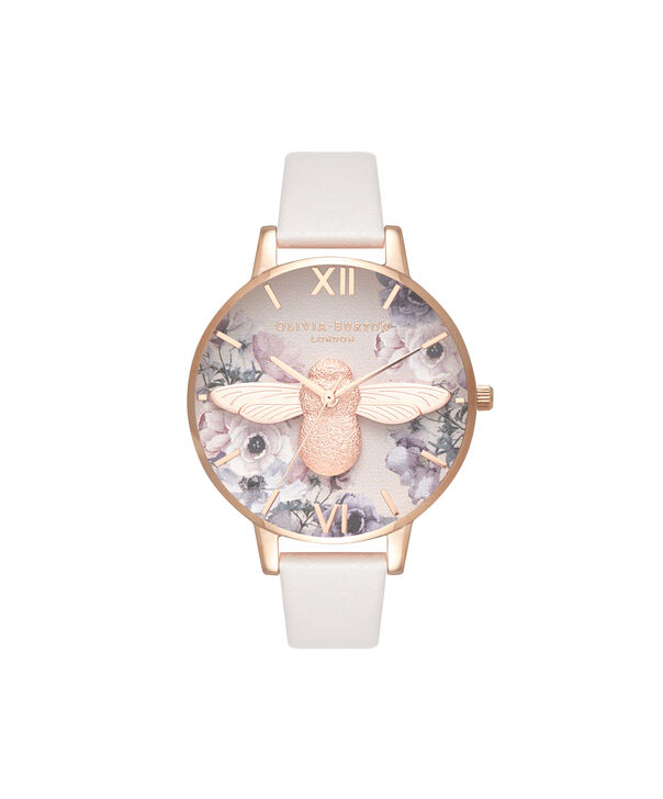 OLIVIA BURTON LONDON  Watercolour Florals Blush & Rose Gold OB16PP41 – Midi Dial Round in Rose Gold - Front view