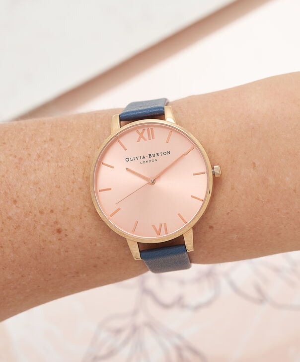 OLIVIA BURTON LONDON  Big Dial Navy And Rose Gold Watch OB13BD13B – Big Dial Round in Rose Gold and Navy - Other view