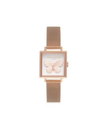 OLIVIA BURTON LONDON  3D Butterfly Mesh Rose Gold OB16MB18 – Midi Square in Rose Gold and Rose Gold - Front view