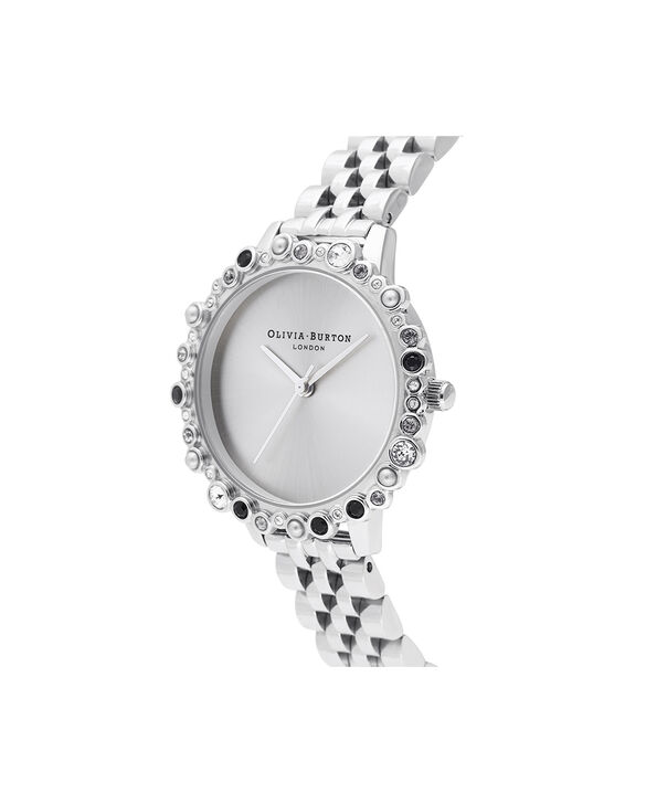 OLIVIA BURTON LONDON Limited Edition Bejewelled Case Watch, Silver BraceletOB16US31 – Bejewelled Case Watch - Side view