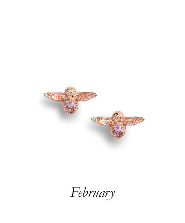 OLIVIA BURTON LONDON Celebration Bee Studs Rose Gold & AmethystOBJAME123 – Earrings in Rose Gold - Front view