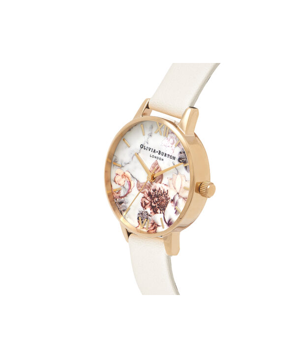 OLIVIA BURTON LONDON  Marble Florals Nude & Gold OB16CS15 – Big Dial Round in Nude and Gold - Side view