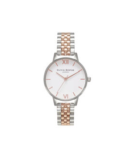 Midi Dial White Dial Rose Gold & Silver Bracelet Watch