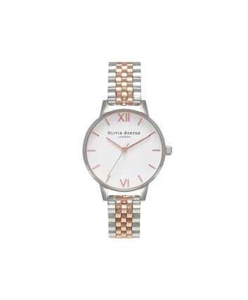 OLIVIA BURTON LONDON  Midi Dial White Dial Rg & Silver Bracelet Watch OB16MDW25 – Midi in White and Silver and Rose Gold - Front view