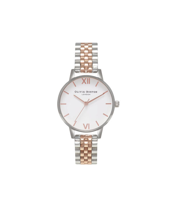 OLIVIA BURTON LONDON Midi Dial White Dial Rose Gold & Silver Bracelet WatchOB16MDW25 – Midi in White and Silver and Rose Gold - Front view