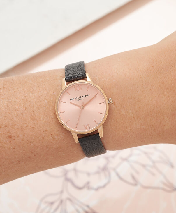 OLIVIA BURTON LONDON Midi Dial Black And Rose Gold WatchOB15MD39 – Midi Round in Rose Gold and Black - Other view