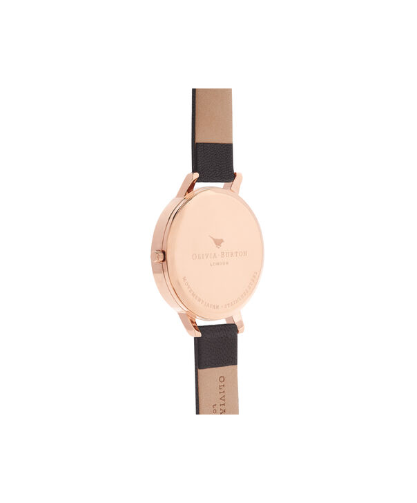 OLIVIA BURTON LONDON  Signature Floral Black & Rose Gold Watch OB15WG12 – Big Dial Round in Floral and Black - Back view