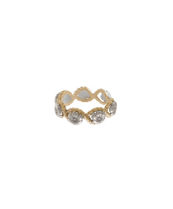 OLIVIA BURTON LONDON  Flower Show Rope Ring Silver and Gold OBJ16FSR07 – Floral Charm Ring - Front view