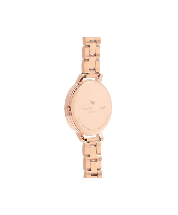 OLIVIA BURTON LONDON  Watercolour Florals Gold Bracelet Watch OB16PP38 – Midi Dial Round in White and Rose Gold - Back view