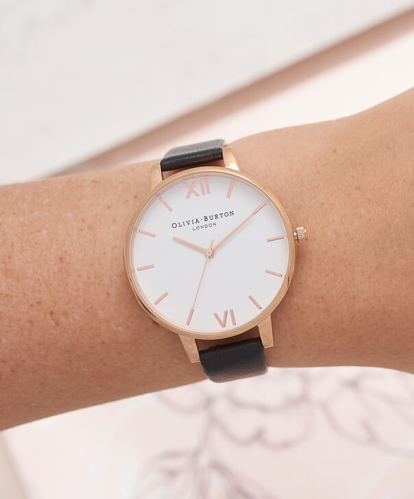 OLIVIA BURTON LONDON  White Dial Black And Rose Gold Watch OB16BDW09 – Big Dial Round in White and Black - Other view