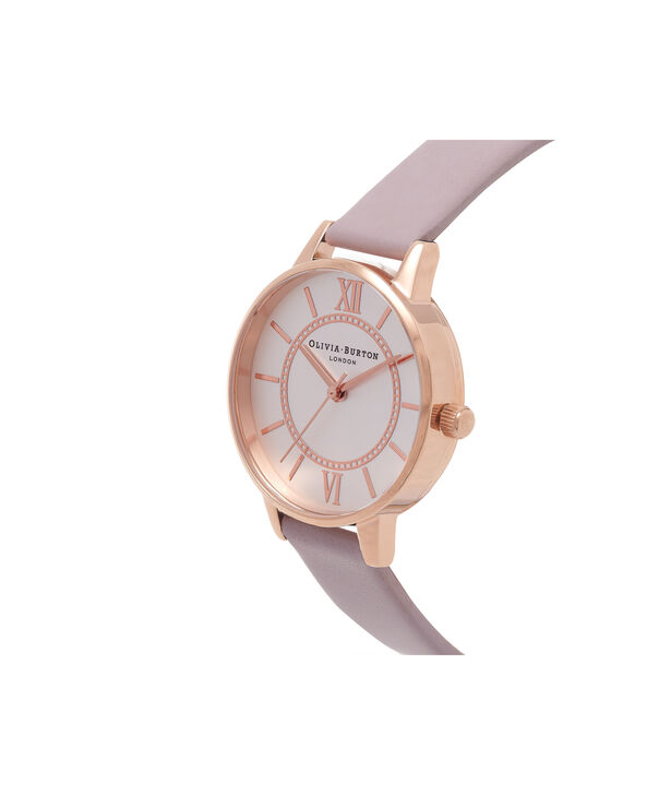 OLIVIA BURTON LONDON  Wonderland Silver & Rose Gold Watch OB15WD51 – Midi Dial Round in Silver, Rose Gold and Grey Lilac - Side view